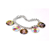 Charm Bracelet With 5 Bales And Circle Charms 7.25""